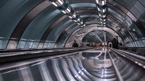 Architecture Building Arch Subway People Escalator Modern Reflection Neon 35PHOTO Underground 1800x1261 Wallpaper