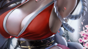 Fantasy Girl Mai Shiranui Fatal Fury King Of Fighters SNK Video Games Video Game Characters Brunette 1843x3500 Wallpaper