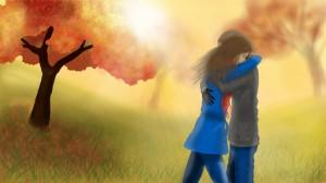 Fall Hug Love Couple 1920x1080 Wallpaper