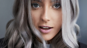 Chloe Norgaard Women Model Face Blue Eyes Grey Hair Makeup Long Hair Simple Background Danish 1100x1375 Wallpaper