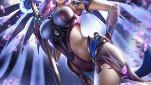 Mercy Overwatch Overwatch Blue Eyes Purple Hair Liang Xing 3500x4000 Wallpaper