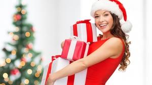 Smile Santa Hat Gift Brunette Depth Of Field 4600x3685 Wallpaper