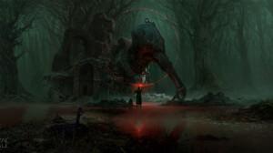 Artem Demura Dark Digital Art Fantasy Art Mortal Shell Concept Art Trees Forest Sword Boat 1920x929 Wallpaper