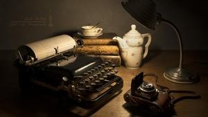 Camera Cup Lamp Teapot Typewriter 6016x4000 Wallpaper