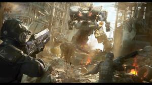War Battle Weapon Science Fiction Artwork Mech Ruins 1920x860 Wallpaper
