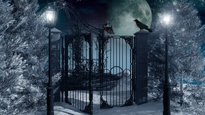 Fantasy Gate Lantern Moon Snow Tree Winter 1920x1080 Wallpaper