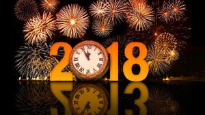 Clock Fireworks New Year New Year 2018 1920x1200 Wallpaper