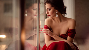 Brown Hair Earrings Hand Lipstick Makeup Red Dress Reflection Style 1920x1200 Wallpaper
