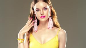 Blue Eyes Brunette Earrings Girl Lipstick Woman 3500x2625 Wallpaper