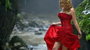 Vladimir Kulakov Women Blonde Dress Barefoot Nature Cave Water Red Clothing Red Dress 1601x2400 Wallpaper