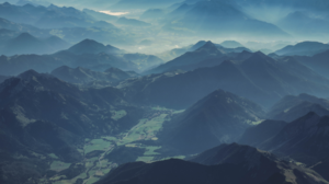 Nature Landscape Mountains Mist Valley Trees Aerial Aerial View Austria 1920x1080 Wallpaper