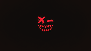 Scary Face Demon Minimalism Smile Dark Tooth Closed Eyes 1920x1080 Wallpaper