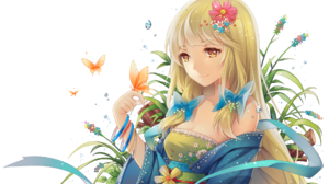 Blonde Butterfly Flower Girl Kimono Original Anime Yellow Eyes 1926x1360 Wallpaper