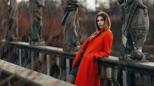 Brunette Coat Girl Model Woman 2048x1310 Wallpaper