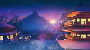 Digital Art Digital Bogdan MB0sco Asian Architecture Mountains Sunset Sunrise Shinto Trees Landscape 1920x1080 Wallpaper