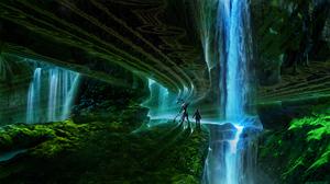 Robot Romantically Apocalyptic Underground Waterfall 1920x1080 Wallpaper