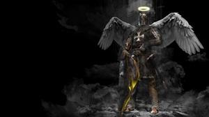 Knight Shield Sword Warrior Wings 3840x2400 wallpaper