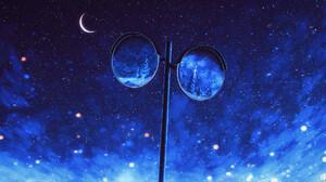 Elizabeth Miloecute Digital Art Starry Night Moon Crescent Moon Reflection Mirror 1920x1040 Wallpaper