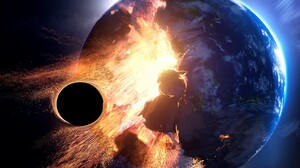 Collision Planet Space Explosion 1920x1311 Wallpaper