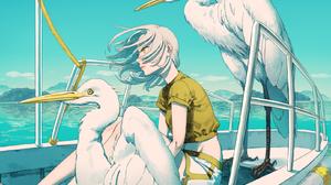 Anime Anime Girls Yellow Eyes Boat Sea Yellow Shirt Looking Away Aburage Original Characters Women O 1611x1199 Wallpaper
