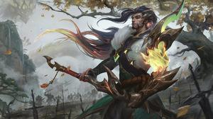 Yasuo Yasuo League Of Legends League Of Legends Riot Games GZG 4K Digital Art Dragon 7680x4320 Wallpaper