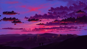 Digital Painting Landscape Mountains Sunset Sky Clouds BisBiswas 1920x1080 Wallpaper