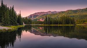 David Dai Landscape Sky Purple Sky Hills Water Trees Nature Horizon Reflection 2048x1309 Wallpaper