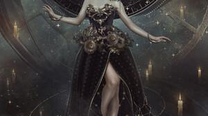 Anna Astrid Artwork ArtStation Fantasy Art Women Fantasy Girl Red Lipstick Dress Legs Together 1728x2160 Wallpaper