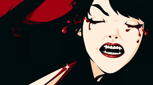Women Vampires Horror Teeth Closed Eyes Bleeding Eyes Artwork 1919x1057 Wallpaper