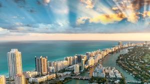 Miami Florida Sea Sky Clouds Cityscape Landscape 2880x1800 Wallpaper