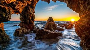 Cave Horizon Nature Ocean Rock Sunrise 7535x4865 Wallpaper
