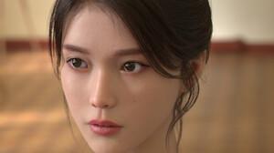 Ed Pantera CGi Asian Women Dark Hair Hairbun Looking Away Portrait Indoors 2048x2048 Wallpaper