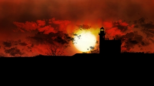 Digital Painting Lighthouse Dusk 1920x1080 Wallpaper