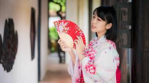Asian Black Hair Depth Of Field Fan Girl Kimono Model Woman 4562x3043 Wallpaper