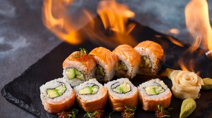 Fish Flame Rice Seafood Sushi 2048x1365 Wallpaper