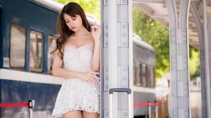 Women Model Brunette Asian Closed Eyes Parted Lips Bare Shoulders Dress White Dress Portrait Pillar  5000x3334 Wallpaper