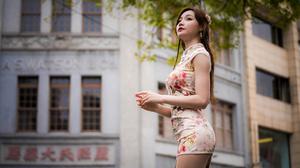 Asian Model Women Women Outdoors Long Hair Dark Hair Depth Of Field Traditional Clothing Trees Build 3840x2560 Wallpaper