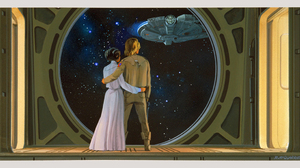 Star Wars Luke Skywalker Leia Organa Princess Leia Millenium Falcon Concept Art Stars Ralph McQuarri 3840x1756 Wallpaper