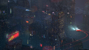Sergio Seabra City Lights Futuristic City Cityscape Futuristic Digital Art Artwork City Lights Drawi 3000x1257 Wallpaper