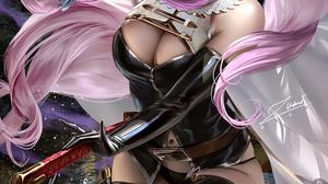 Zumi Drawing Granblue Fantasy Narmaya Granblue Fantasy Women Pink Pink Hair Long Hair Horns Weapon W 853x1280 Wallpaper