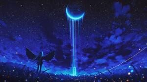 Elizabeth Miloecute Digital Art Starry Night Moon Wings Door Portal 1920x1080 wallpaper