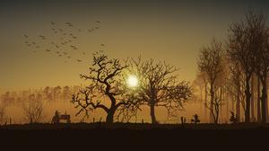 Dawn Sunrise Orange Sky Sparrow Trees Tractors Farmers Silhouette Metalanguage Stan Prokopenko Antog 3840x2160 Wallpaper
