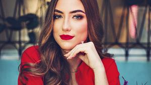 Brunette Girl Lipstick Model Woman 3648x2962 Wallpaper