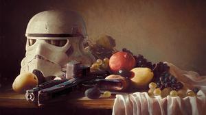 Still Life Digital Art Artwork Fruit Stormtrooper Star Wars Blaster Painting Humor 1920x1080 Wallpaper