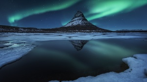Aurora Borealis Light Night Peak Reflection Sky Stars Winter 2500x1669 wallpaper