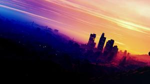 Bike Biker City Grand Theft Auto V Los Santos Sky Skyscraper 4935x1923 Wallpaper