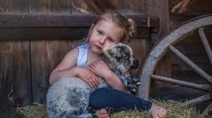 Baby Animal Child Cute Girl Goat Little Girl 2700x1800 Wallpaper