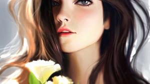 Liang Xing Flowers Face Women Artwork Liang Xing 960x1280 Wallpaper