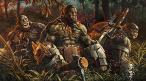 Sergey Kovalev Digital Art Fantasy Art Orcs Fantasy Weapon Forest 1920x1066 Wallpaper