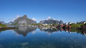 Lofoten Islands Mountain Norway River 7952x4150 Wallpaper